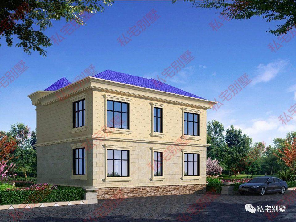 藍色屋頂歐式兩層農村別墅,很新穎的外觀