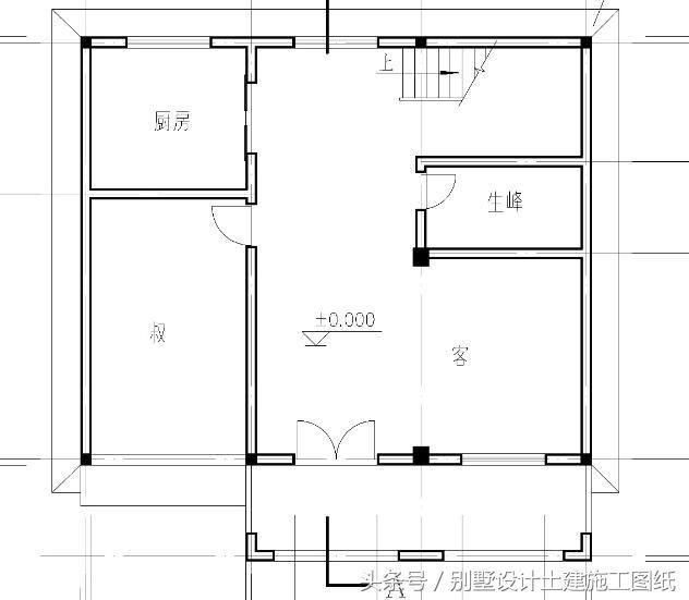 三层新农村自建房设计图纸 第二套占地面积为12.3x10.