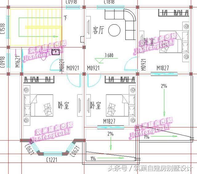 120平方米二层带堂屋乡村自建房别墅设计图,造价25万