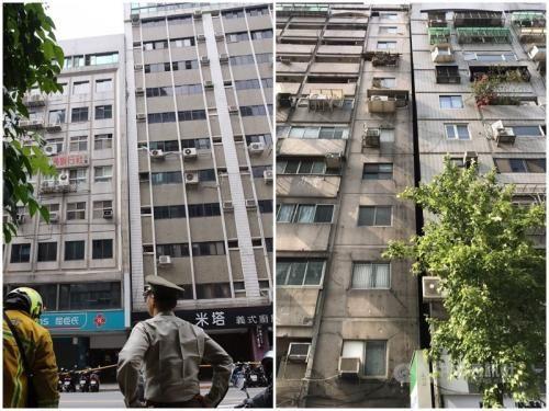 花莲强震致台北市两栋大楼发生倾斜疏散百余人