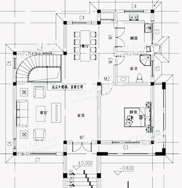 140平方米农村二层自建别墅图纸,双落地窗 挑空客厅,造价20万!