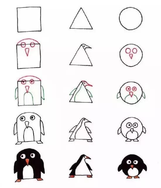 儿童简笔画:三种几何平面图形,轻松教孩子画动物,颠覆