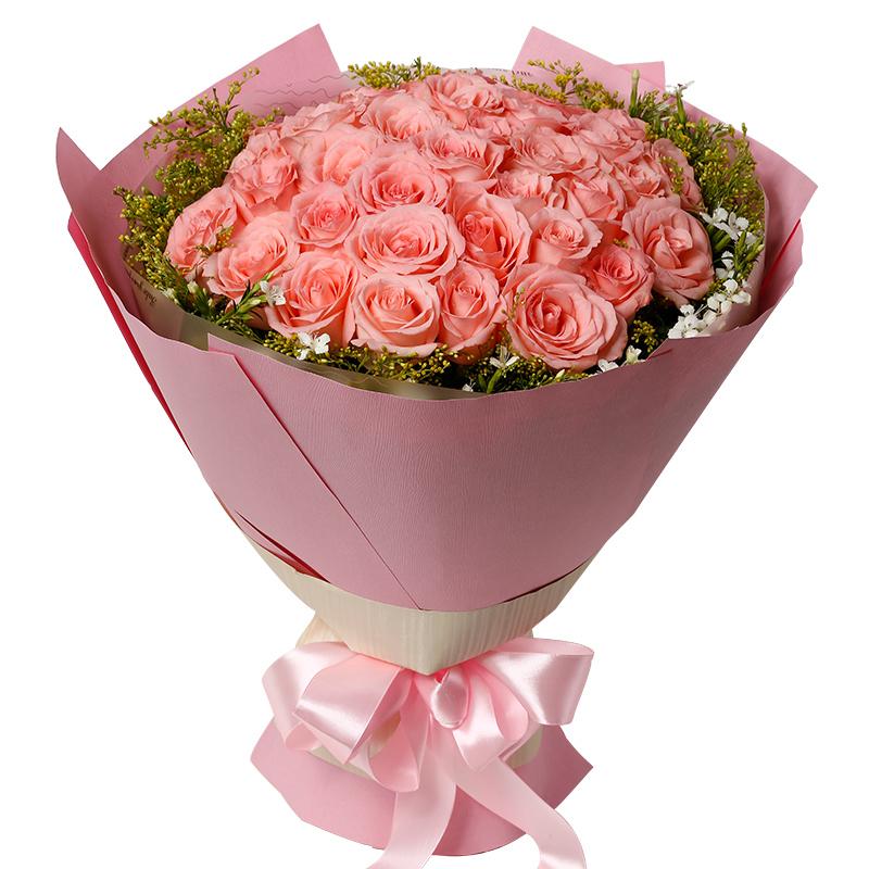 爱尚 33枝戴安娜玫瑰鲜花花束 一世臻爱