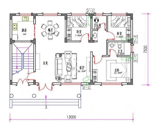 ㎡32万3厅3厨9室带凉亭自建房全套设计图  层数:三层 开间:13米 进深