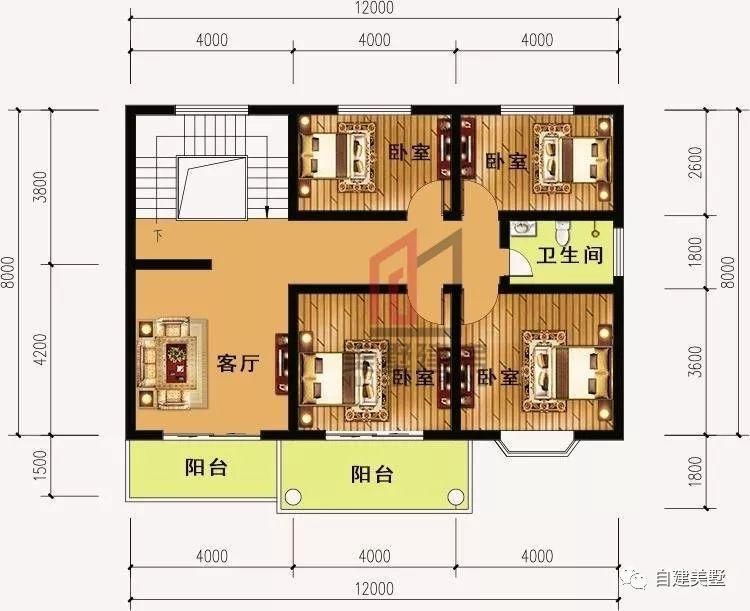 农村自建四房一厅设计图展示