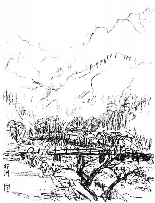 长城黄河雪景图手绘