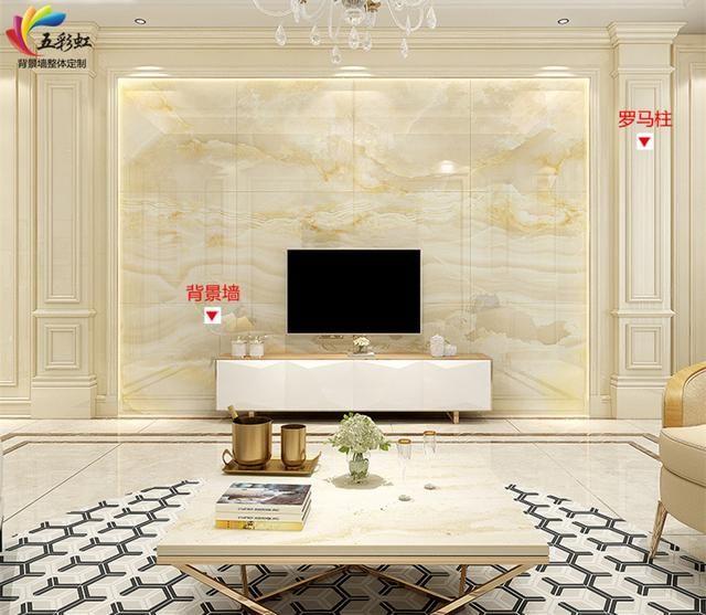 11,简欧风格微晶石背景墙搭配罗马柱造型装修效果图 欧式家居风格