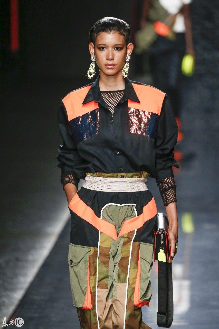 2018法国巴黎秋冬时装周模特穿着流行服饰走秀