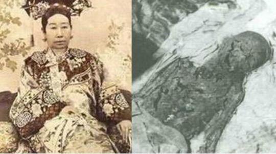 慈禧太后出土遗体实拍,身上仅剩一条红裤头,嘴角被划出一条口子图片
