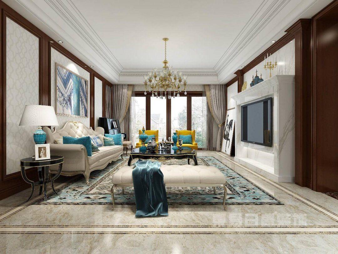客厅 客厅背景墙以大理石材壁炉为造型,搭配红樱桃木护墙板饰面装饰