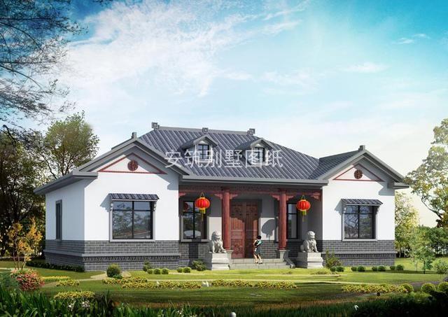 含义新中式一层户型农村,大面宽造价,图纸低又cad别墅m722图纸的图片