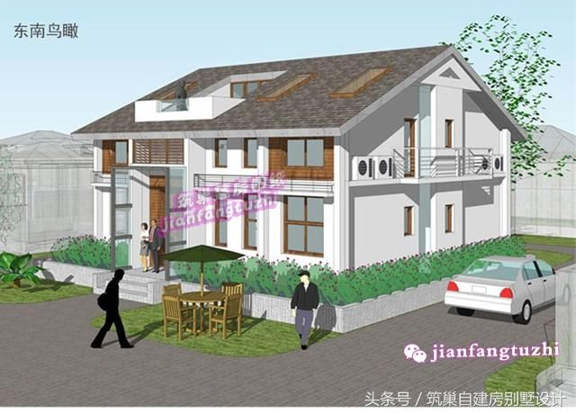 20万一层半乡村简洁现代风格自建房别墅设计图纸带阁楼天窗