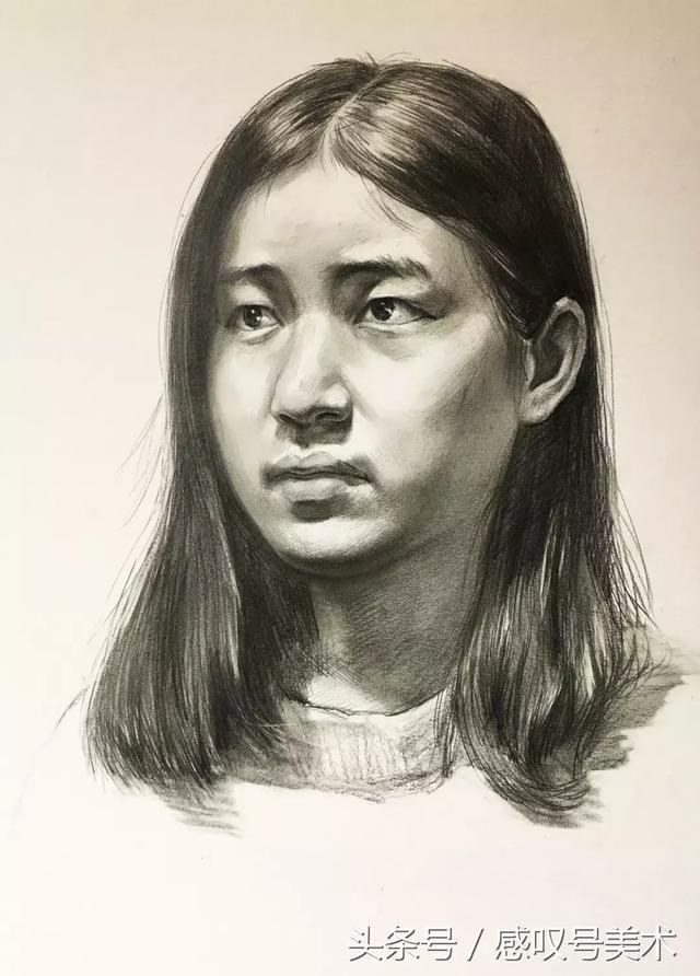 素描头像女青年的绘画过程欣赏,简单实用!艺考