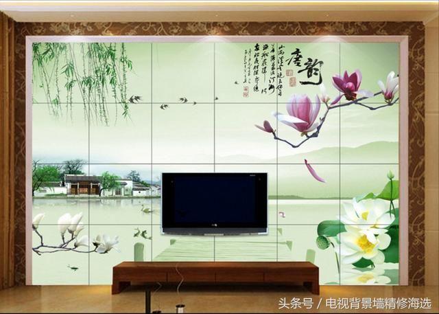 山水风景画的客厅背景墙,让您的事业和家庭更上一层楼