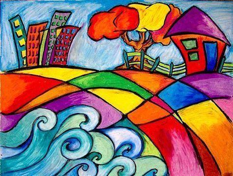 儿童创意美术作品:户外风景与多种小房子绘画