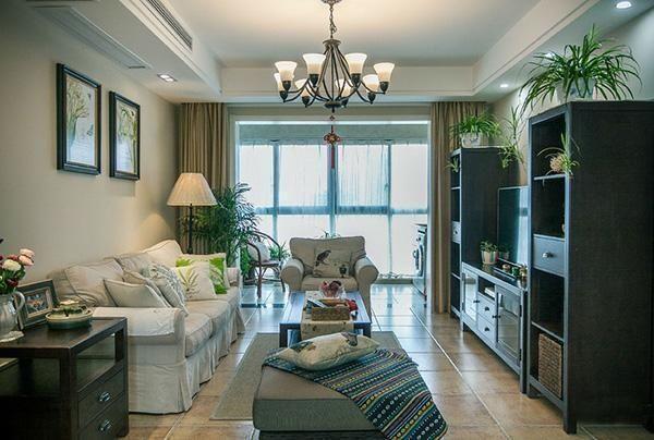 108平美式新房花了15万,客厅阳台被打通没想到效果这么好