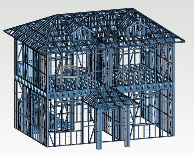 农村轻钢别墅小户型110平方案例分享(实心墙体)