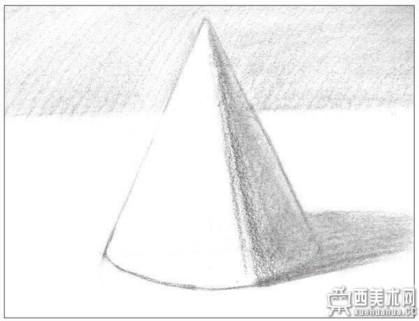 几何体素描之圆锥体绘画步骤五 6,使用纸笔,对暗面,投影及背景的调子