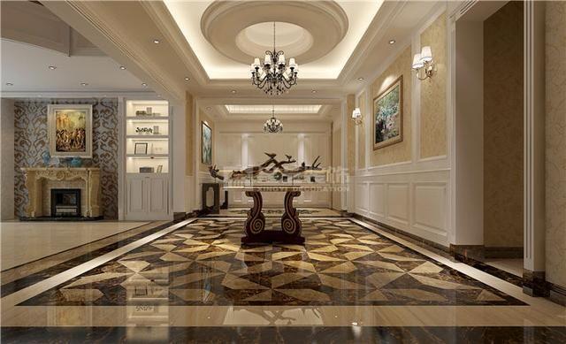 案例风格:欧式风格 设计总监:姚辉 装修用材:护墙板,大理石地砖,墙纸