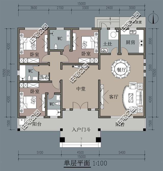 求农村平房室内设计图?长12米,宽10米.三室一厅一卫?总共建几层?