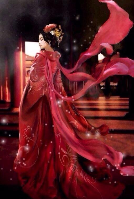 唯美头像丨古风红衣美女插画,清水出芙蓉,天然去雕饰!