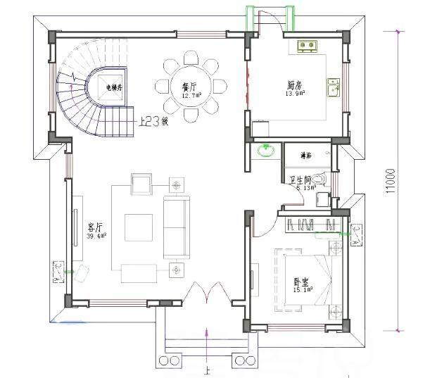 本套农村住宅设计图开间进深11 ×11米,首层占地110㎡,总建筑面积30