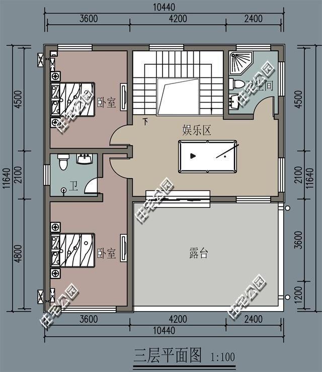 新农村3层自建房,10米x11米,加一个卫生间平移楼梯值么?(图6)