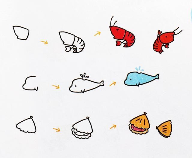 爱美术,爱动物,手帐中的简笔画海洋动物