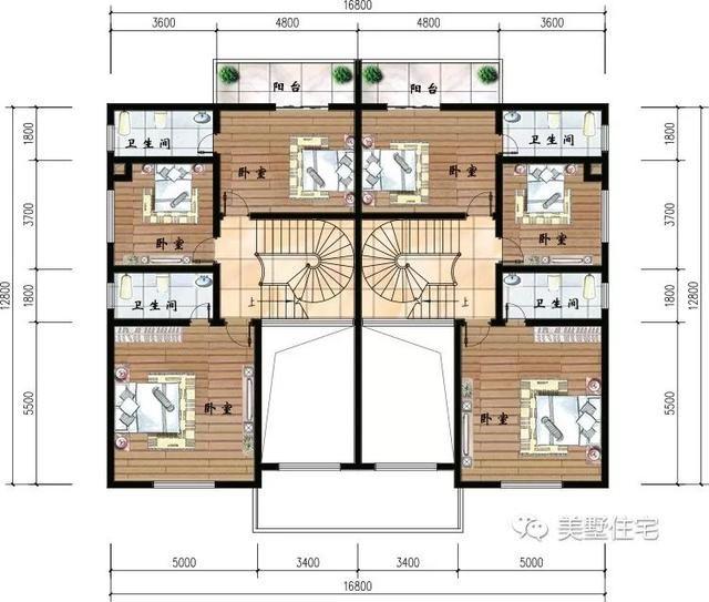 这是二层平面设计图,设有阳台,三间卧室和两个卫生间.