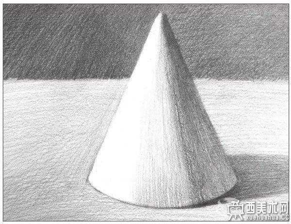 推荐 正文  几何体素描之圆锥体绘画步骤八 9,使用2b铅笔,画出圆锥体