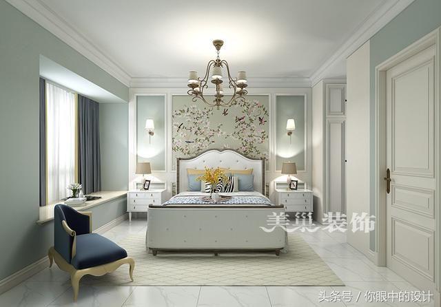 轻美式设计:客厅简洁明快,背景墙石材和木饰面装优雅大方!