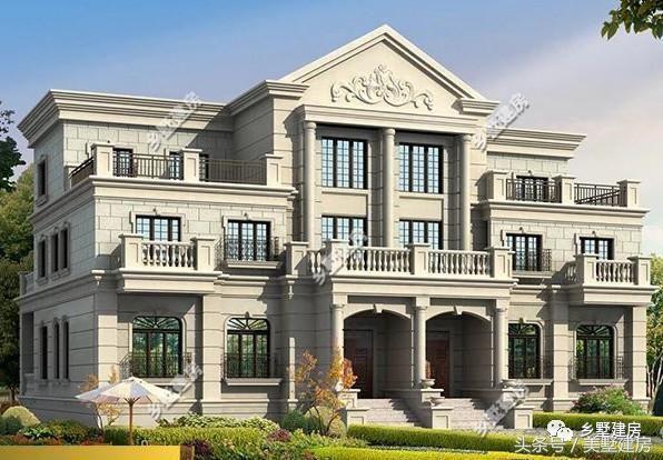 款式一 本款户型是欧式风格双拼别墅,外墙选用乳白色真石漆装饰,耐脏