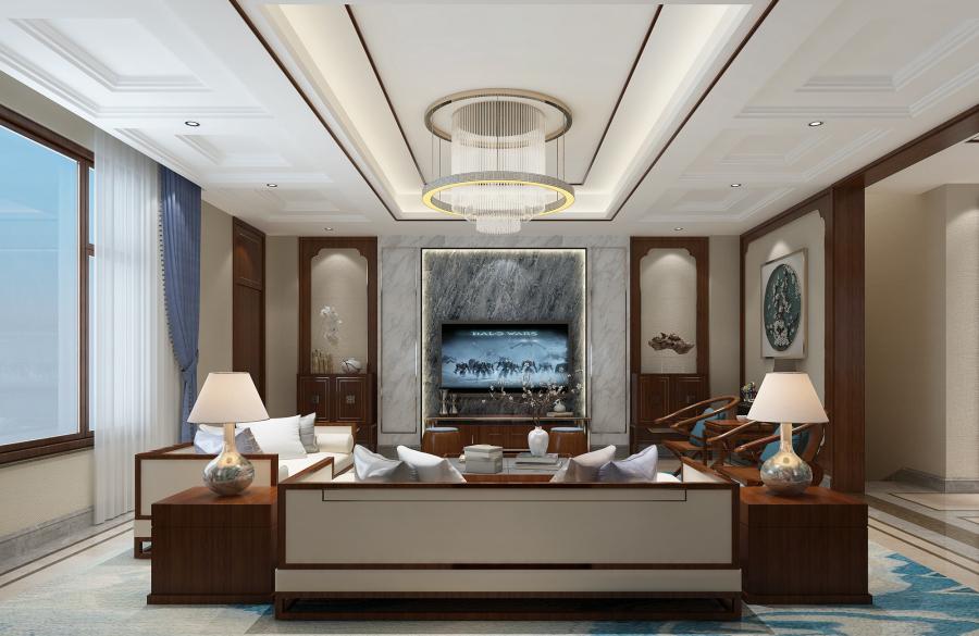 客厅选择了中式家具,尽显大气,沙发背景墙的装饰更加的凸显了本案的风