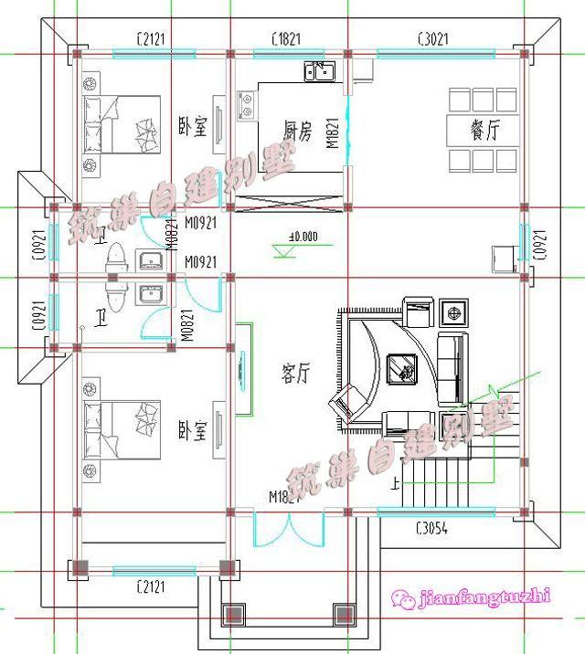 150平方米经济实用三层农村自建房设计图效果图,四面通透!