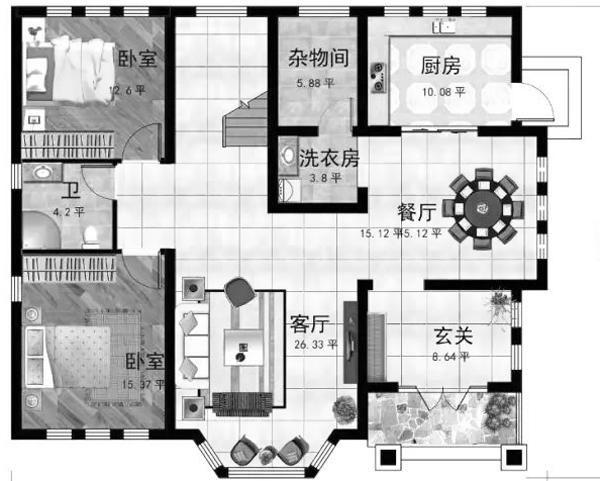 一层:玄关(8.64) 挑空客厅(26.33) 卧室(15.37) 卧室(12.6) 厨房(10.08) 餐厅(15.12) 杂物间(5.88) 洗衣房(3.8) 入门是玄关,玄关进去是餐厅和厨房,厨房开设后门,通向室外,农村通常有后院,从后门进去更方便。厨房旁边是洗衣房和杂物间。玄关左边是客厅,面积较大,采用挑空设计,客厅左边有 一间15平方左右的卧室,这个卧室正对面还有一间卧室,公卫设在这两间卧室中间。  二层平面图