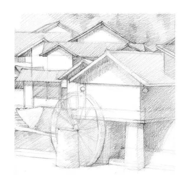 素描风景绘画,零基础学,竹楼水车
