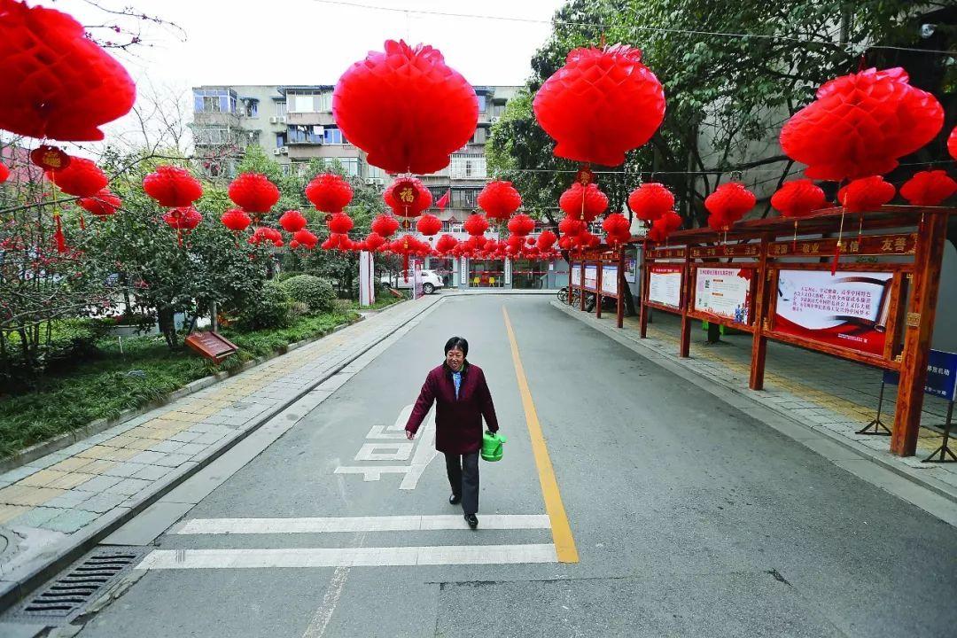2018年2月11日,成都武侯区玉林街道,居民刘玉兰在文化广场浇花.图片