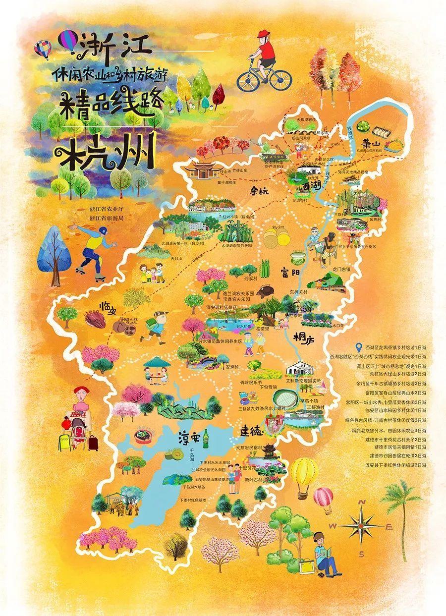 跟着各地的手绘地图 去旅行 ▼▼▼ 杭州14条线路 ◎西湖区龙坞茶镇